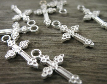 25 Silver Plated Cross Charms 20mm