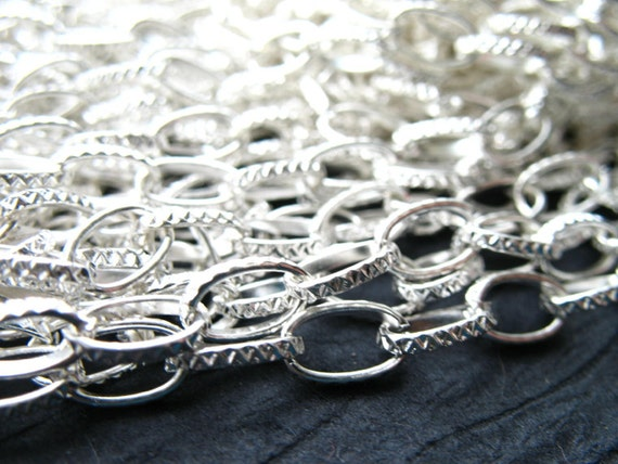 Silver Cable Chain, Silver Plated, Textured Links, 6mm by 8mm, 6 feet, Nickel Free