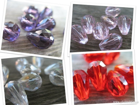 Crystal Teardrop Beads, Multicolor, Red, Pink, Purple, Clear with AB coating 11mm by 8mm, 20 pcs
