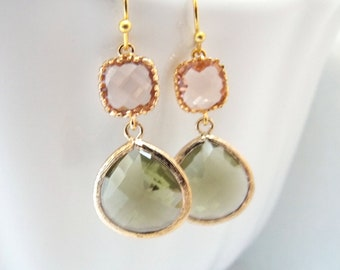 Green Earrings, Peach Earrings, Champagne, Olive Green, Fall, Gold Earrings, Wedding, Bridesmaid Earrings, Bridal Jewelry, Bridesmaid Gifts