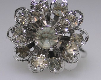 Sarah Coventry ring Symphony, rhinestone, silver tone, circa late 1960s