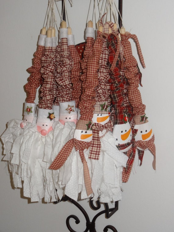 Items similar to wooden spoon rag santa rag snowman for Ohio holiday craft shows