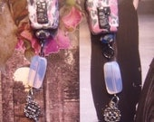 HAUNTED HOUSE on the hill gothic chic pink shabby chic  black white and silver long lush dangle earrings