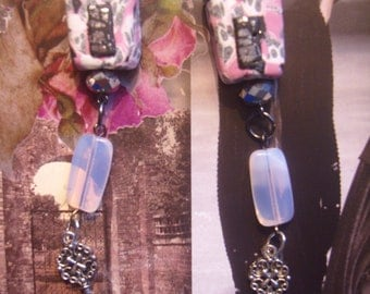 1pair Earrings long Pink pastel shabby chic  black white  silver whimsy dangle key charms