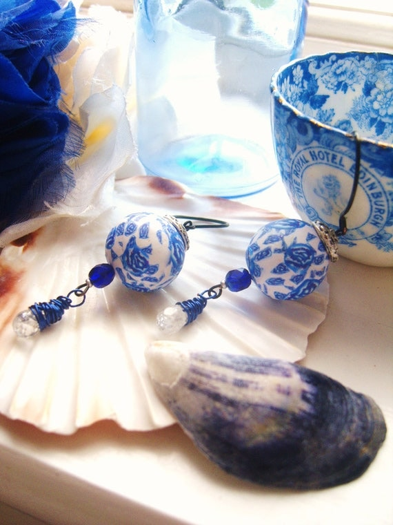 CHINA BLUE ROSES handmade clay pattern earrings unique with clear crackled quartz drops free shipping