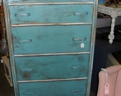 shabby chic vintage turquoise dresser with 4 drawers