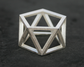 SKELETON - Sterling silver faceted modern geometric 3D printed ring