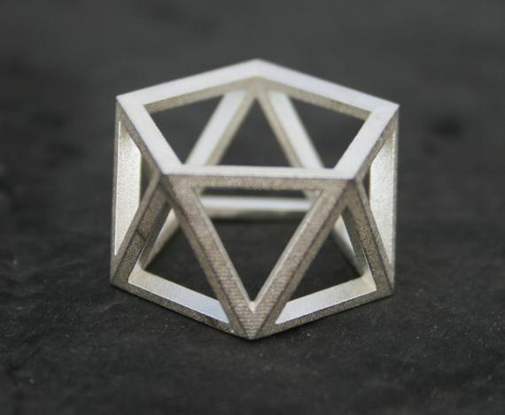 SKELETON - Sterling silver faceted modern geometric 3D printed ring