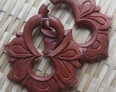 MAYA Flower Hoops - Hand Carved Fake Gauges - Natural Saba Wood - Tribal Earrings