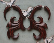 SUMITRA Fake Gauge Earrings - Natural Brown Sono Wood - Hand Carved Body Art