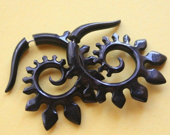 HYRA Spirals - Hand Carved Fake Gauges - Natural Black Horn - Tribal Style Earrings