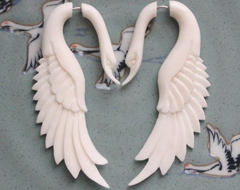 Fake Gauge Earrings - LATA Swan - Natural White Bone - Hand Carved Jewelry