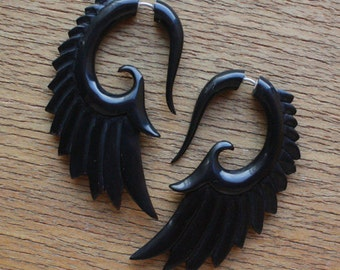 BRAVE Wing Earrings - Natural Black Horn - Hand Carved Organic Fake Gauges