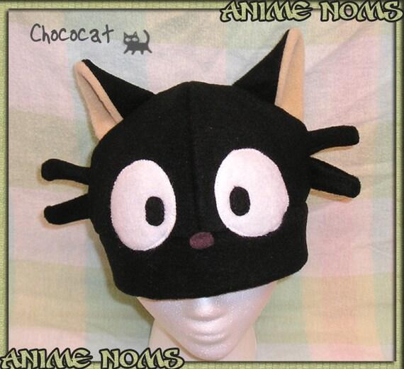 Chococat Hat - Fleece Cosplay Ears Cat Kitty Black Brown Whiskers