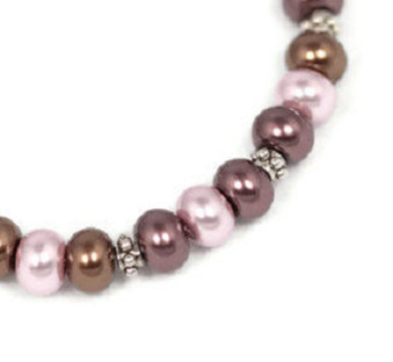 Pink and Aubergine Pearl Beaded Bracelet