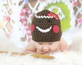 Gingerbread Man Hat Crochet Christmas Holiday Beanie Newborn Photo Prop Chocolate Brown Sizes 0-3 Months 3-6 Months 6-12 Months