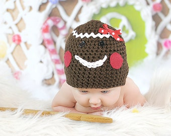 Gingerbread Man Hat Crochet Christmas Holiday Beanie Newborn Photo Prop Chocolate Brown Sizes 0-3 Months 3-6 Months 6-12 Months