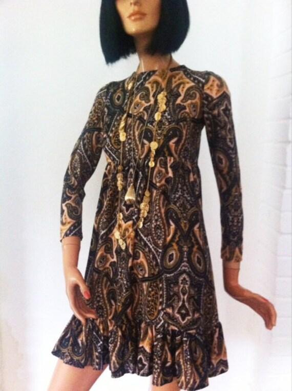 Gorgeous orig 60s ethnic print Empire line dress. California label. genuine vintage.