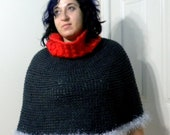 Colorblock Capelet - Wool Acrylic - Charcoal Gray and Tango Red Poncho