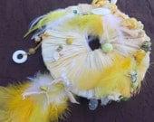 YELLOW DREAMCATCHER Solar Energy Medicine Wheel 3rd Chakra Empowerment yellow & white dreamcatcher fiber art feathers gemstones hippie boho