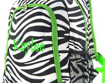 Personalized Girls Backpack - Zebra and Lime