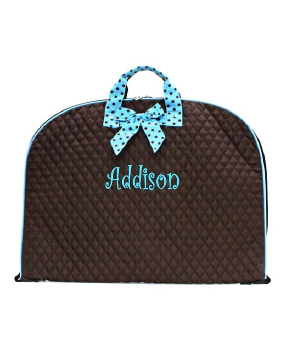 Personalized Garment Bag  Quilted Brown with Aqua Trim Monogrammed Free