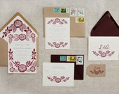 Custom Block Printed Wedding Invitation Suite