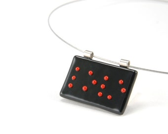 LOVE - Black & red pendant, Braille fused glass necklace, red dots/letters on black. Made to order.
