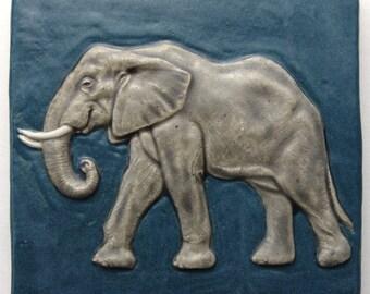 """Elephant Tile, multiple glazed, high fired ceramic. 5 1/2"""" sq."""