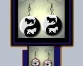 Cocker Spaniel Dog Breed Yin Yang symbol animal black Silhouettes Altered Art Dangle Earrings with Rhinestone