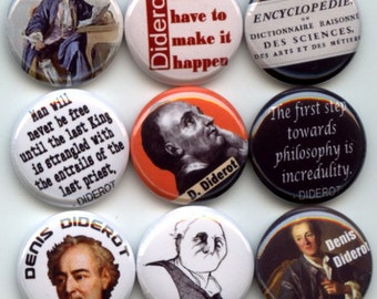 """Denis Diderot French Philosopher Age of Enlightenment 10 Pinback 1"""" Buttons Badges Pins"""