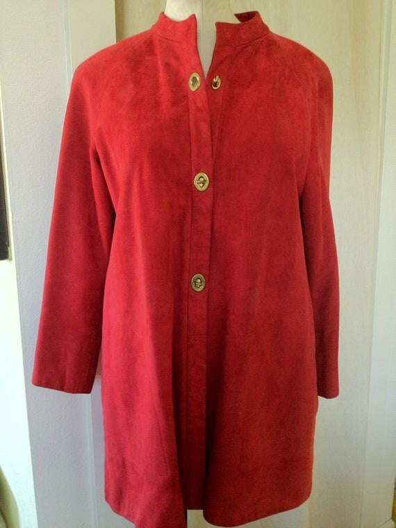 Vintage 1960s Bonnie Cashin Raspberry Red Suede Leather Mod Coat - Size Medium to Large
