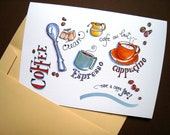 Coffee Cups Card - Friend Card - Card for Coffee Lover - Have a Cuppa Joe