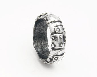 Bond Together steampunk wedding band / engagement ring in silver