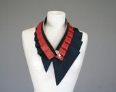 Adjustable collar from upcycled silk in dark blue and peach gold - neckwear - READY TO SHIP