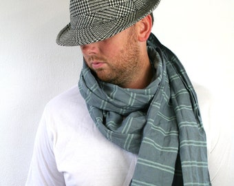SUPER SALE Men's scarf, striped mint on gray, large linen scarf, men's scarves, fall winter fashion