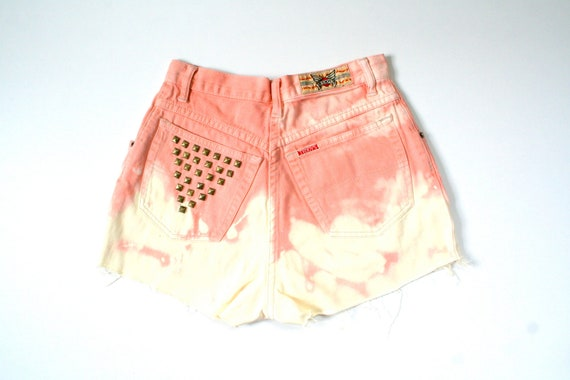 OMBRE shorts in orange and yellow denim, studded shorts, size extra/small-small XS-S 4-6, stained disstressed, 80's 90's look