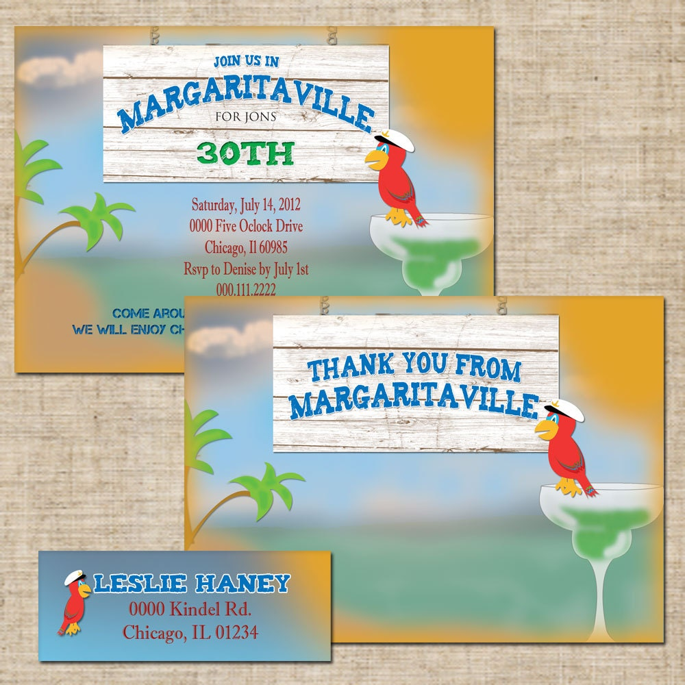 8 Piece Printable Margaritaville Birthday Invitation Set