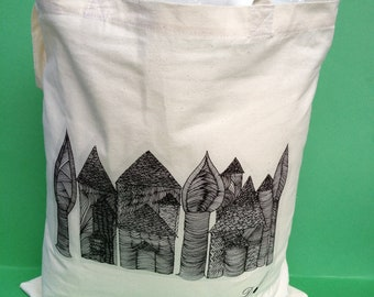 Tote Bag-cotton Tote Bag- transfer print-Title The Village -colour calico-image from an original hand drawing.