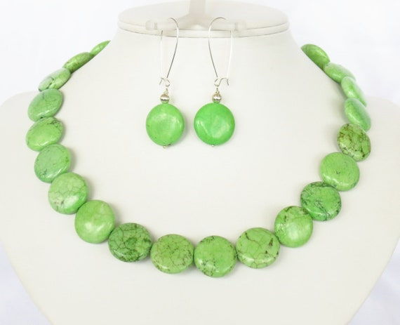 Green Turquoise Necklace & Earrings - Green Statement Necklace - Bridesmaid