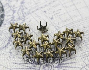 400Pcs 7mm Antique Brass STAR Studs Small Metal Studs (BS07)