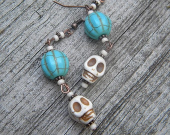 Skulls ...earrings dia de los muertos day of the dead all saints day gothic halloween turquoise blue hippie hippy mexican themed eclectic