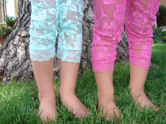 Hand Sewn Colorful Lace Leggings