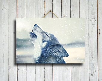 Howling in the Snow - 16x24 canvas - wolf decor - wolf in snow decor - wolf dog - howling wolf - wolf howling - wolf photography - wolf art