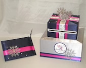 Winter theme Wedding Card Box-Guest Book and Pen-any color combination