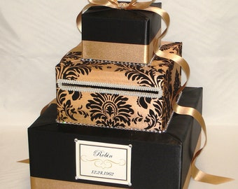 Elegant Gold Damask Wedding Card Box -Rhinestone accents(any color combination)