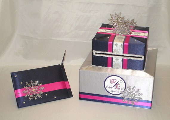 Winter Wedding Gift Card Box : Winter theme Wedding Card Box-Guest Book and Pen-any color combination
