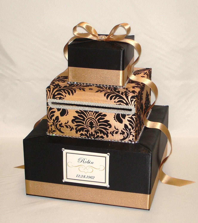 Elegant Gold Damask Wedding Card Box Rhinestone Accentsany