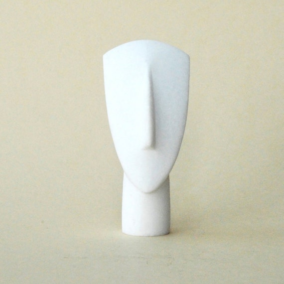 Greek Abstract Figurine Detail in White Marble