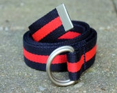 Red and Navy Belt Webbing Belt Stripe Ladies Belt Mens Rugby Stripe Red Stripe Belt Navy D Ring Belt